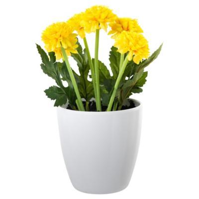 Crisantemo artificial 24 cm Amarillo con macetero
