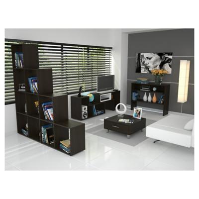 Combo rack de TV + biblioteca + arrimo + mesa de centro wengué