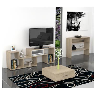 Combo rack de TV + arrimo + mesa de centro oak