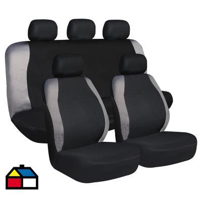Set de fundas para asientos poliéster Negro 9 piezas