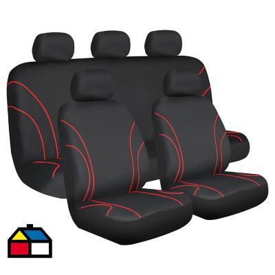 Set de fundas para asientos poliéster Rojo 9 piezas