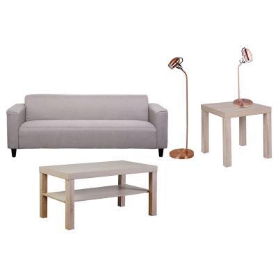 Combo mesa lateral + sofá mirtha + mesa centro + mesa centro + lámpara pie + lámpara escritorio
