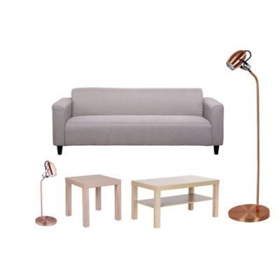 Combo Sofá 3 cuerpos BG + Mesa lateral + 1 Mesa de centro + 1 Lámpara de pie tulipa + 1 Lámpara escritorio tulipa