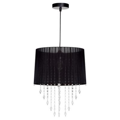 Lámpara de colgar plástico y velo Marion negro