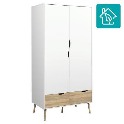 Closet Oslo 2 puertas y 2 cajones 98x58x200 cm blanco/oak
