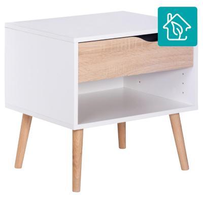 Velador Oslo 1 cajón 50x39x49 cm blanco/oak