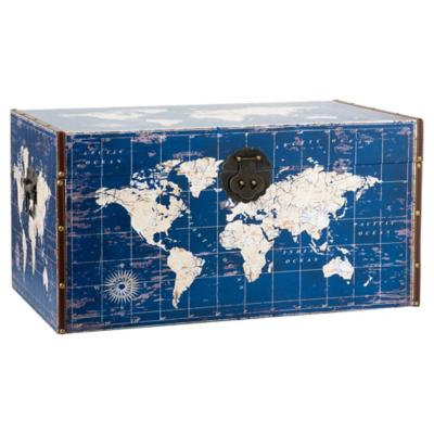Baul mapa 70x40x35 azul/crema