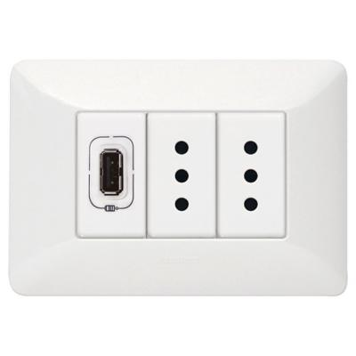 Tomacorriente Doble 10 A + 1 USB 1,5A Blanco