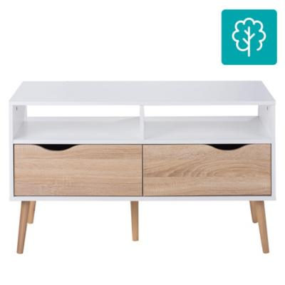 Rack TV Oslo 98x39x57 cm blanco/oak
