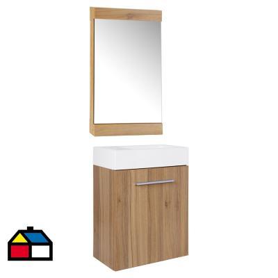Combo mueble + vanitorio + espejo roble