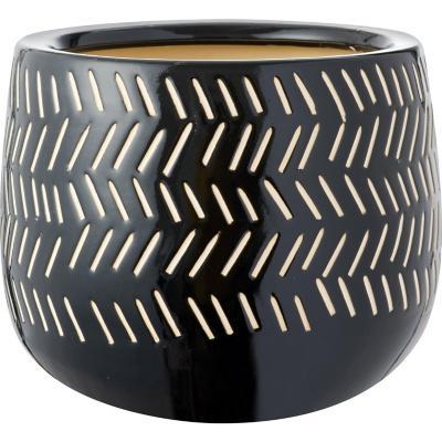 Macetero de cerámica 22x30x30 cm negro
