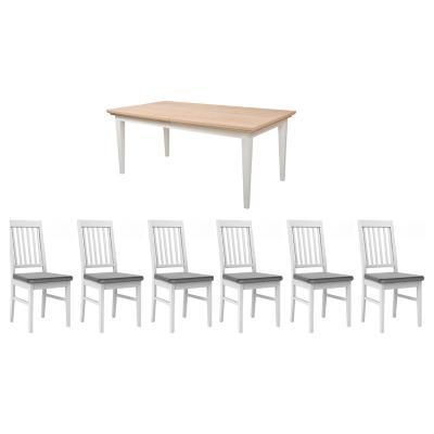 Juego de comedor Paris extensible 6 sillas gris
