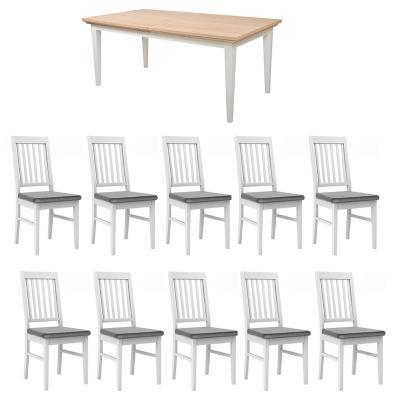 Juego de comedor Paris extensible 10 sillas gris