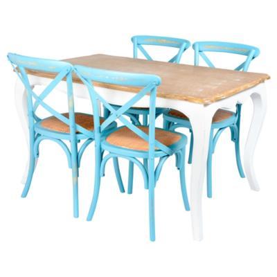 Juego de comedor Vittoria 4 sillas turquesa