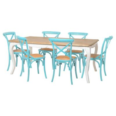 Juego de comedor Vittoria 6 sillas turquesa