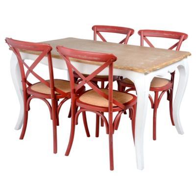 Juego de comedor Vittoria 4 sillas rojo