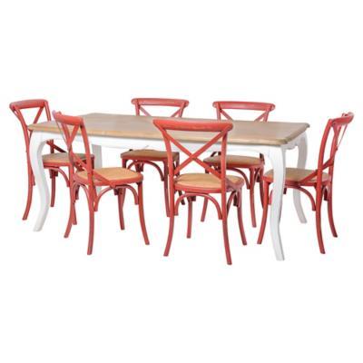 Juego de comedor Vittoria 6 sillas rojo