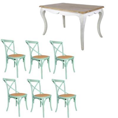 Combo Mesa Comedor + 6 sillas menta