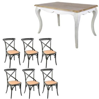Combo Mesa Comedor + 6 sillas negra