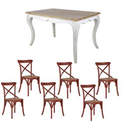 Combo Mesa Comedor + 6 sillas rojo