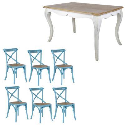 Combo Mesa Comedor + 6 sillas turquesa
