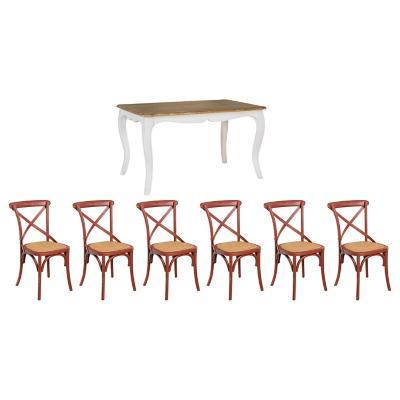 Combo Mesa de comedor 180X100X75 + 6 Sillas Rojo