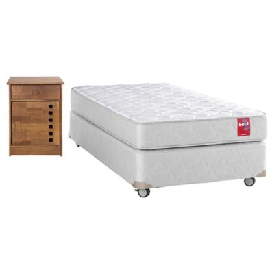 Combo Cama Americana Base Normal 1,5 Plazas + Velador