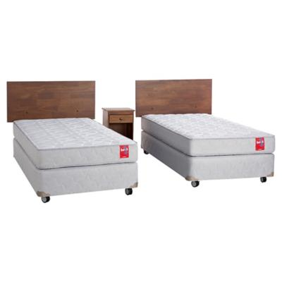 Box Spring Beat 1 plaza BN + muebles
