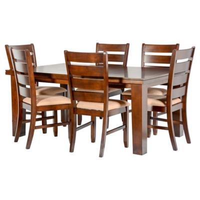 Juego de comedor extensible 6 sillas 167/212x106 Café
