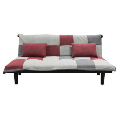 Futón 180x85x71 cm rojo gris