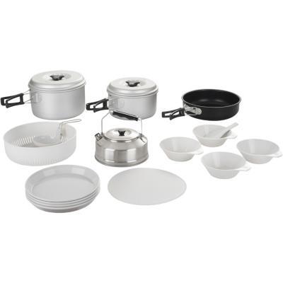 Set de cocina para camping 4 personas metal y plástico
