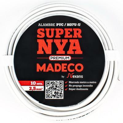 Alambre de cobre aislado (H07V-U) 2,5 mm2 10 m Blanco