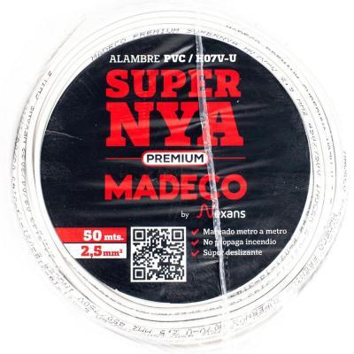 Alambre de cobre aislado (H07V-U) 2,5 mm2 50 m Blanco