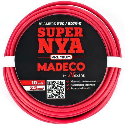 Alambre de cobre aislado (H07V-U) 2,5 mm2 10 m Rojo