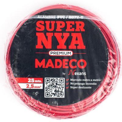 Alambre de cobre aislado (H07V-U) 2,5 mm2 25 m Rojo