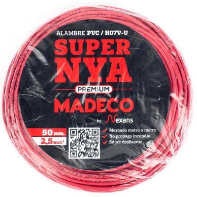 Alambre de cobre aislado (H07V-U) 2,5 mm2 50 m Rojo