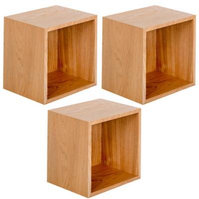 Set de repisas madera 38x15x20 cm 3 unidades café