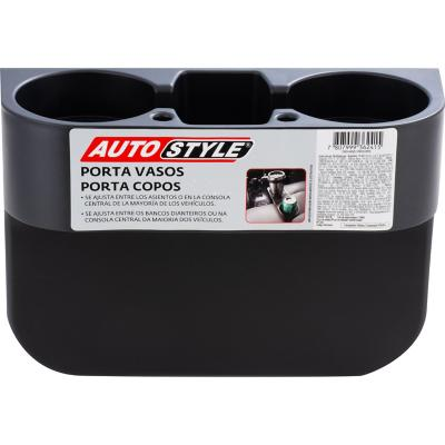 Posavasos doble para auto plástico 28x9,5x20 cm Negro
