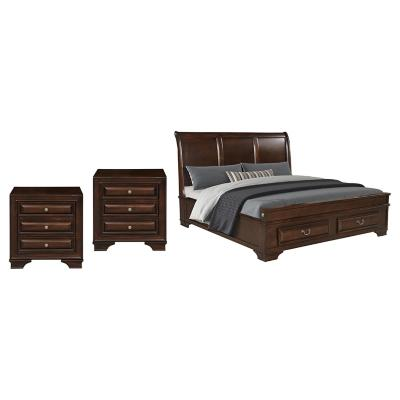 Combo Cama King Brown + 2 Veladores Brown