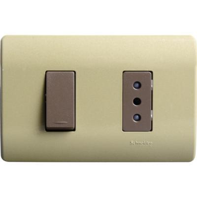 Interruptor 9/12 y tomacorriente 10 A Dorado