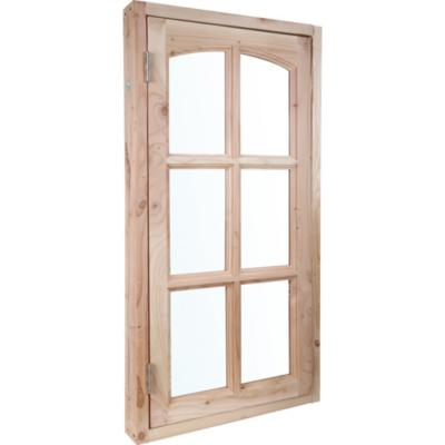 Kit ventana pino oregón 60x120 cm con vidrio