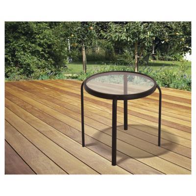 Mesa de apoyo metal redonda 45 cm chocolate