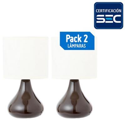 Pack lámparas de mesa 16 cm 60 W 2 unidades