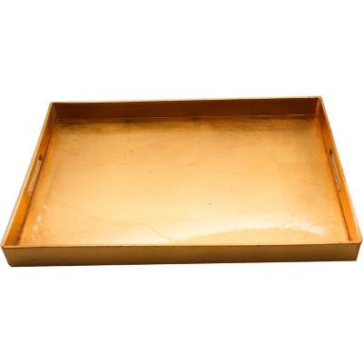 Bandeja de plástico dorado 48x35 cm