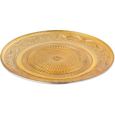 Plato vidrio 20x20 cm dorado