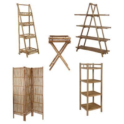 Combo Estante+Biombo+Repisa Pleg+Bandeja+Repisa Bambú