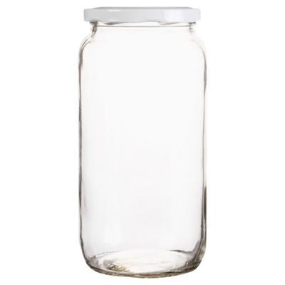Frasco con tapa blanca 1 litro vidrio transparente
