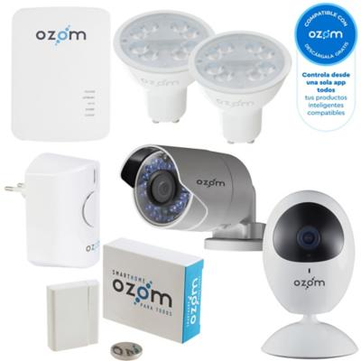 Combo Smart Ozom Box + Cámara Interior HD + Cámara Exterior HD + Alarma + Multisensor + 2 Ampolletas LED GU10 C/F