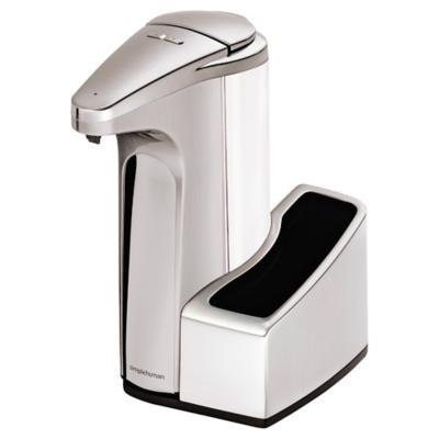 Dispensador automático de jabón con portaesponja metal Plateado