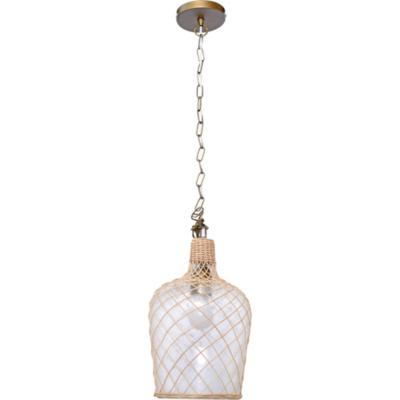 Lámpara de colgar Vidrio y rafia Botella Café